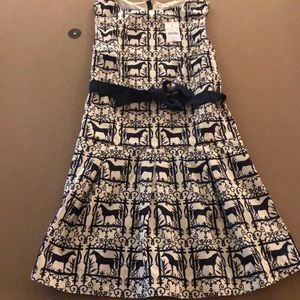 Girls Jcrew Dress w/horse details and ribbon belt